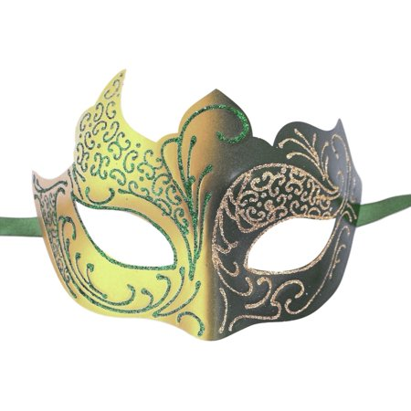 Green Gold Venetian Mask Masquerade Mardi Gras - Mardi Gras Mask On A Stick