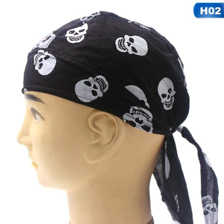 AkoaDa Men Durag Bandana Scarf Head Tie Down Band Cycling Biker Skull Cap Pirate (Buccaneer Pirate Skull Bandana)