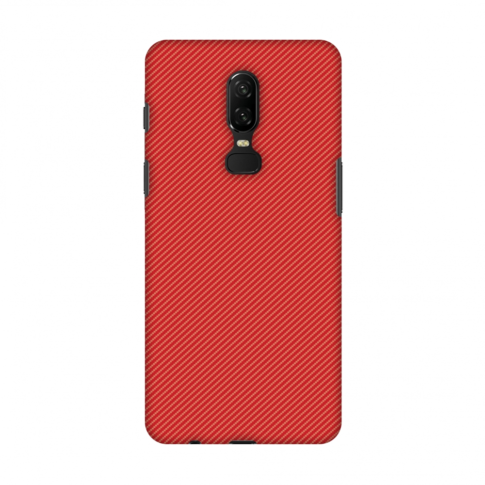 OnePlus 6 Case - Carbon Fibre Redux Candy Red 15, Hard Plastic Back Cover, Slim Profile Cute Printed Designer Snap on Case with Screen Cleaning Kit