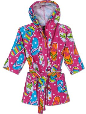 Komar Kids Girls Cotton Hooded Terry Robe Cover Up, Kids Sizes 3-12, White, Size: Small / 5-6