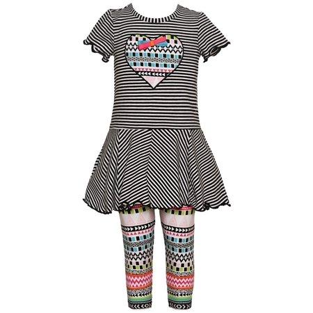 2554bce3b4741 Bonnie Jean - Bonnie Jean Baby Girls Black White Stripe Heart Aztec 2 Pc  Legging Set - Walmart.com