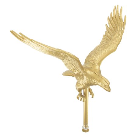 Outdoor Gold Flagpole Eagle - 12in Tall with 11.25in Wingspan ()