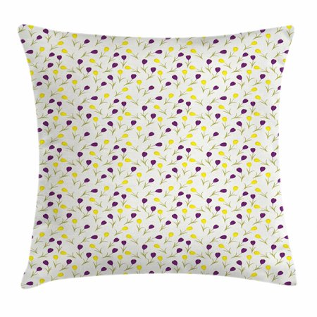 Spring Throw Pillow Cushion Cover, Retro Style Seasonal Design with Contrast Color Little Blossoms, Decorative Square Accent Pillow Case, 18 X 18 Inches, Purple Yellow and Apple Green, by Ambesonne