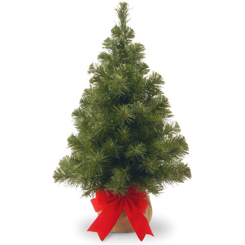 National Tree Unlit 2' Noble Spruce Artificial Christmas Tree with Burlap Bag