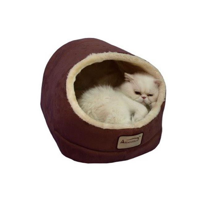 C18HTH-MH Armarkat Pet Bed Cat Bed 18 x 12 x 14 - Indian Red & Beige