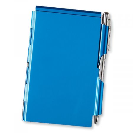 Refillable Notepad Holder - Blue Metal Note Holder with Pen - 2 1/2