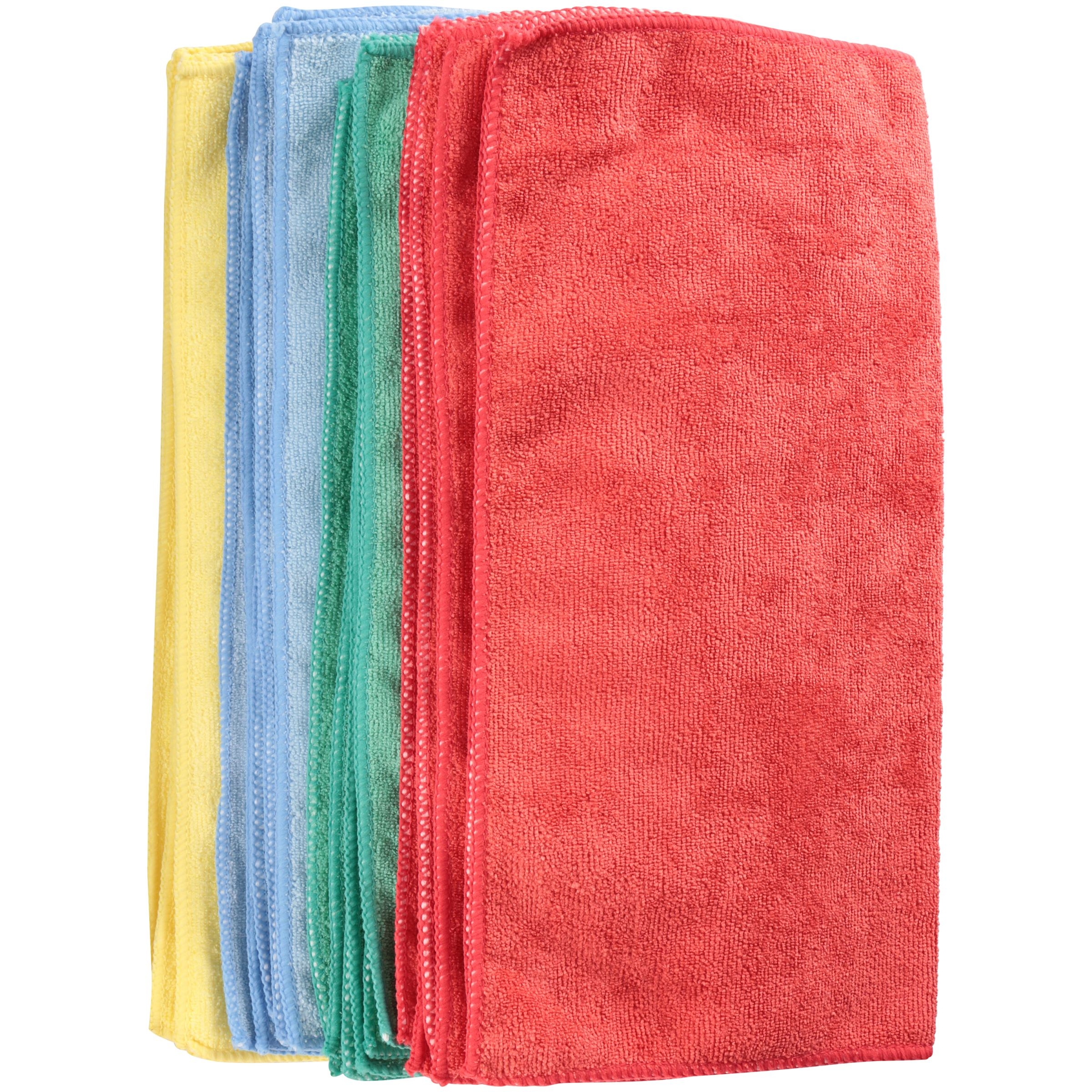 "Zwipes Commercial Assorted Colors 16 x 16"" Microfiber Cleaning Towels 12 ct Package"
