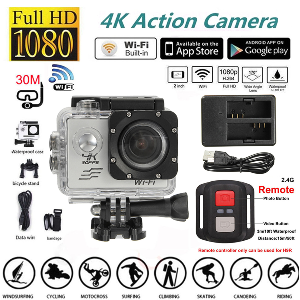 """2"""" 4K WIFI Sports Action Camera Waterproof Sport Camcorders Cam DVR 170 Degree Wide Angle Lens,SJ8000R"""