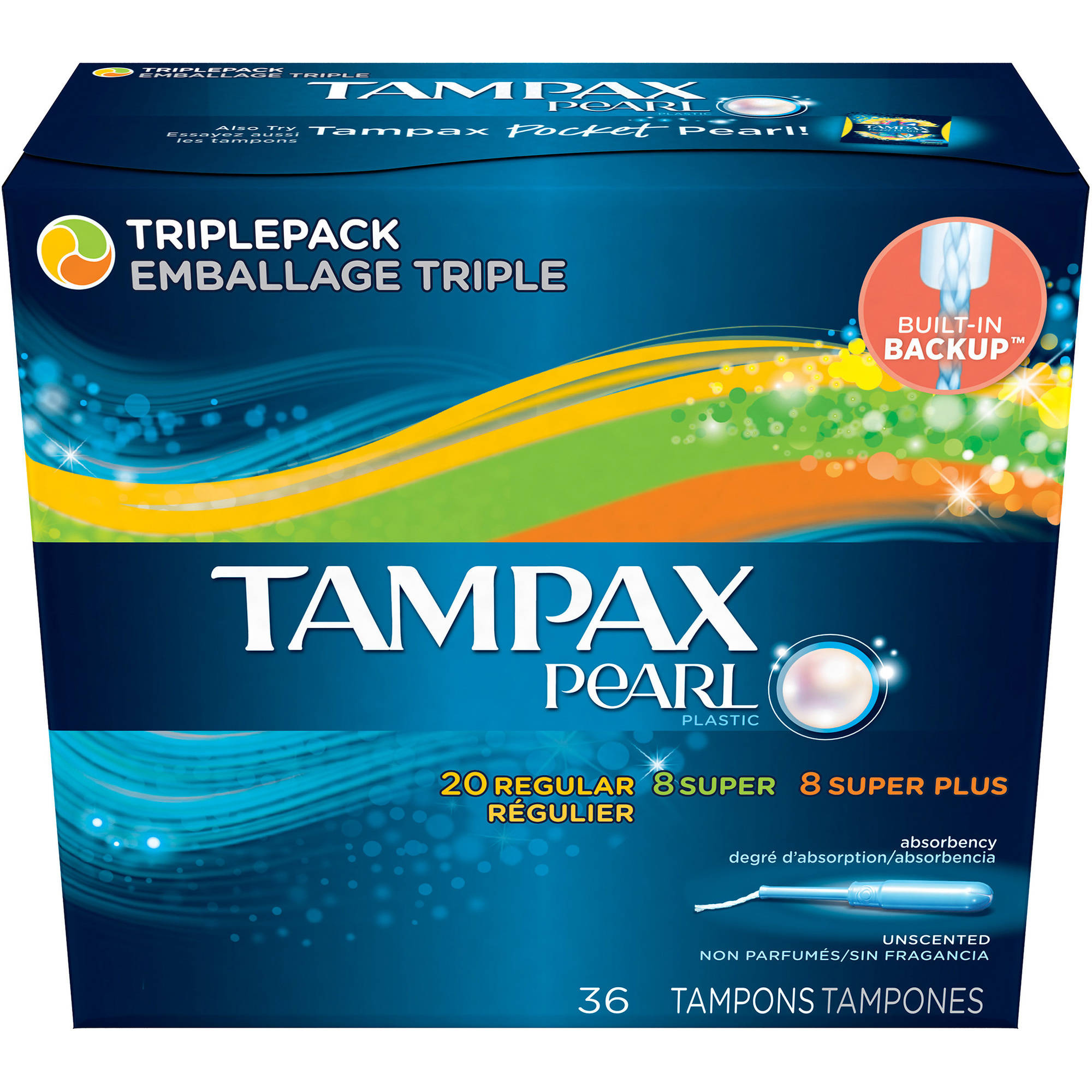 Tampax Pearl Plastic Multipax Tampons, Light/Regular/Super/Super Absorbency, (Choose your Count)
