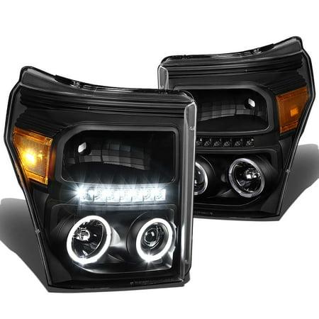 For 11-15 Ford Super Duty Dual Halo Projector LED Headlight+Corner Light Kit (Black Housing Amber Reflector) 12 13 14