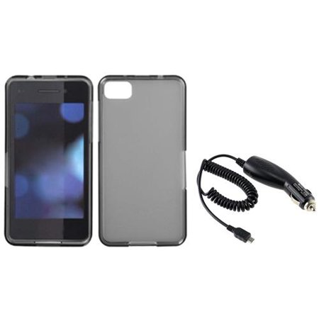 Blackberry Rubber Case (Insten Clear Smoke TPU Rubber Skin Gel Cover Case+DC Car Charger For BlackBerry Z10 )
