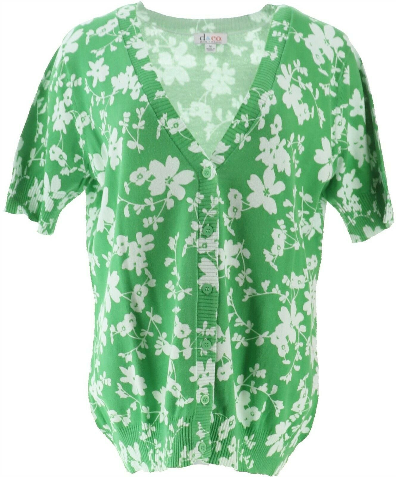 Denim & Co Floral Print Short Slv Button Cardigan