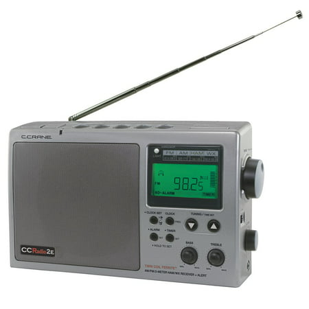 C. Crane CCRadio 2E Enhanced Digital AM, FM, Weather and 2-Meter Ham Band Portable Clock Radio (Titanium) ()