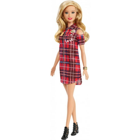 Barbie Fashionistas Doll, Original Body Type with Plaid Dress](Doll Dress Adult)