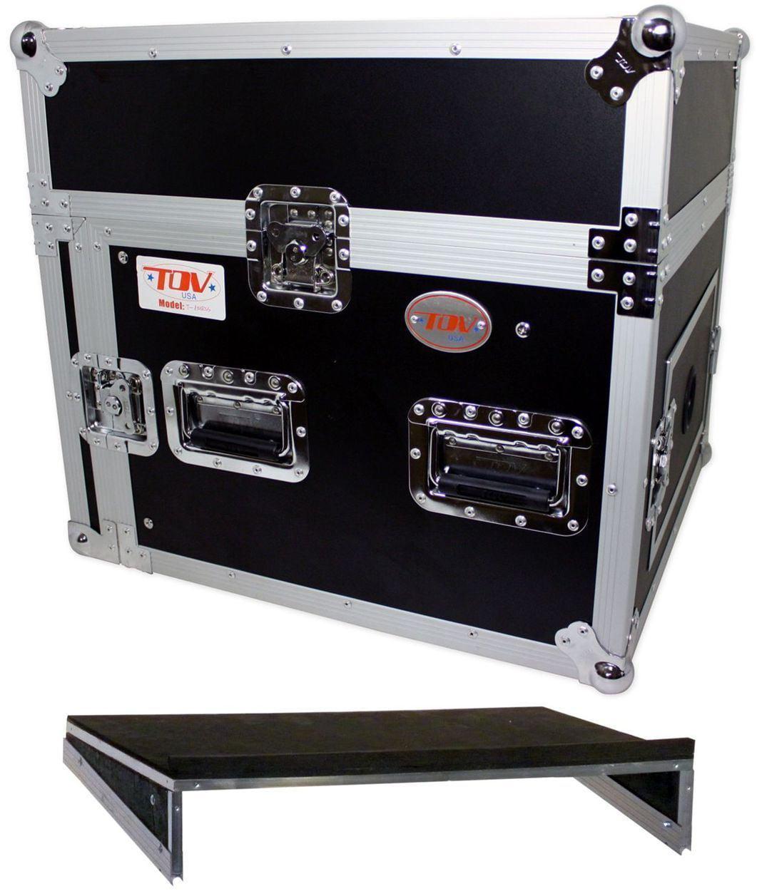 Pro X T-8MR 8U x 10U Space Slant DJ Combo Rack Flight Case +Sliding Laptop Shelf by PRO X CASES