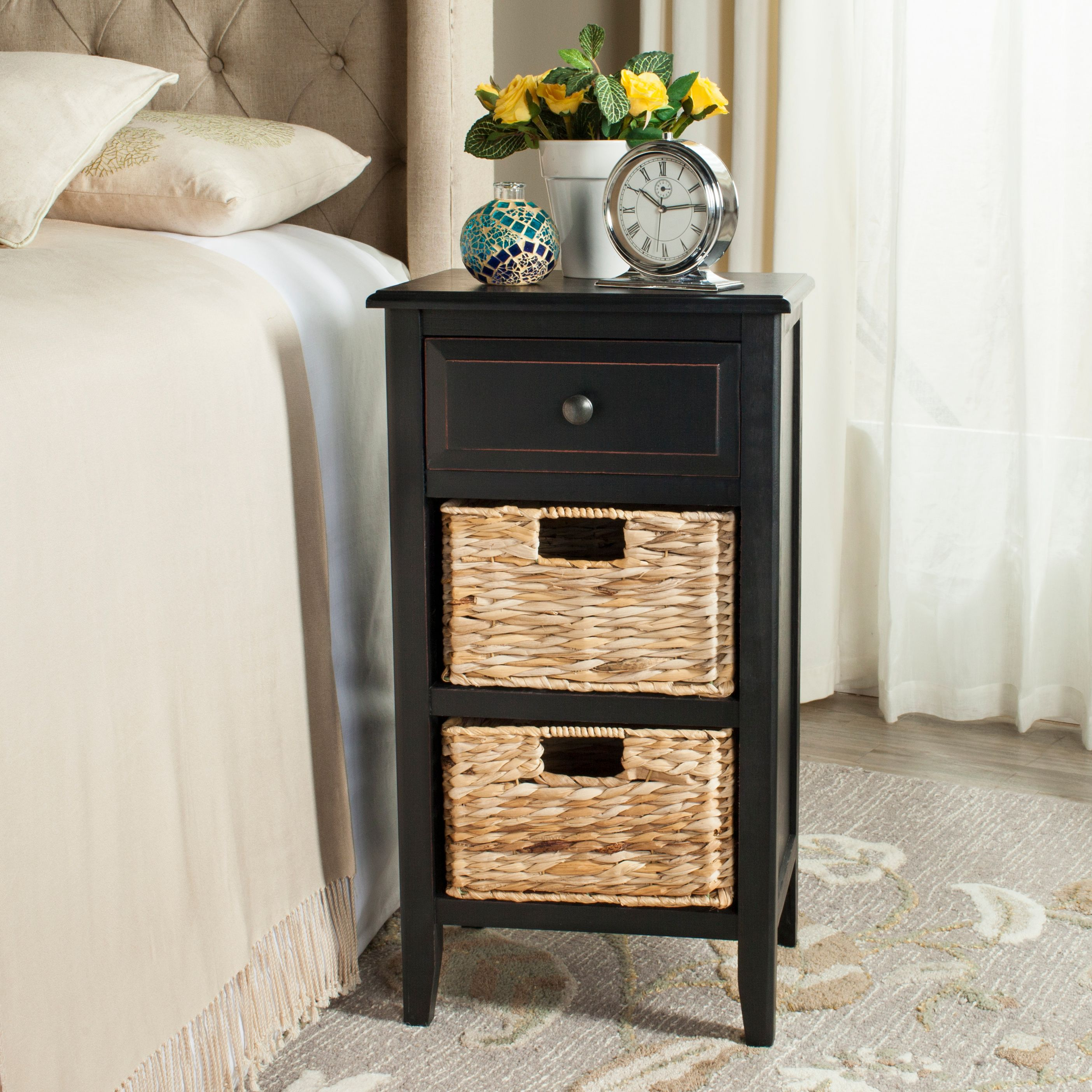 Safavieh Everly Contemporary Side Table with Drawer and Two Baskets