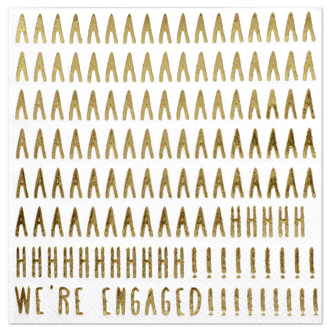 Koyal Wholesale We're Engaged, Funny Quotes Cocktail Napkins, Gold Foil, Bulk 50 Pack Count 3 Ply Napkins
