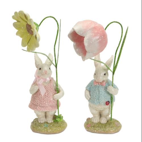"""Set of 4 Easter Bunny Rabbit Couple with Yellow and Pink Flowers 11"""""""