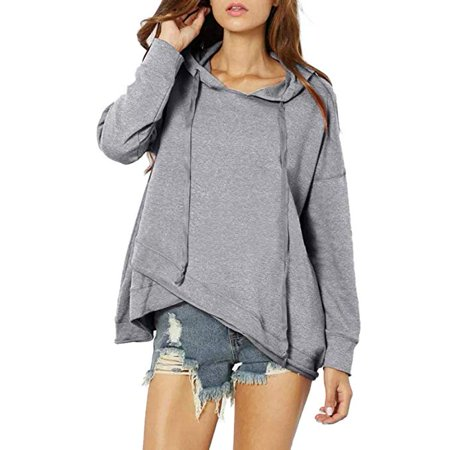 Clearance Autumn Women Casual Lace up Long Sleeve Hoodie Pullover Solid Sweatshirt