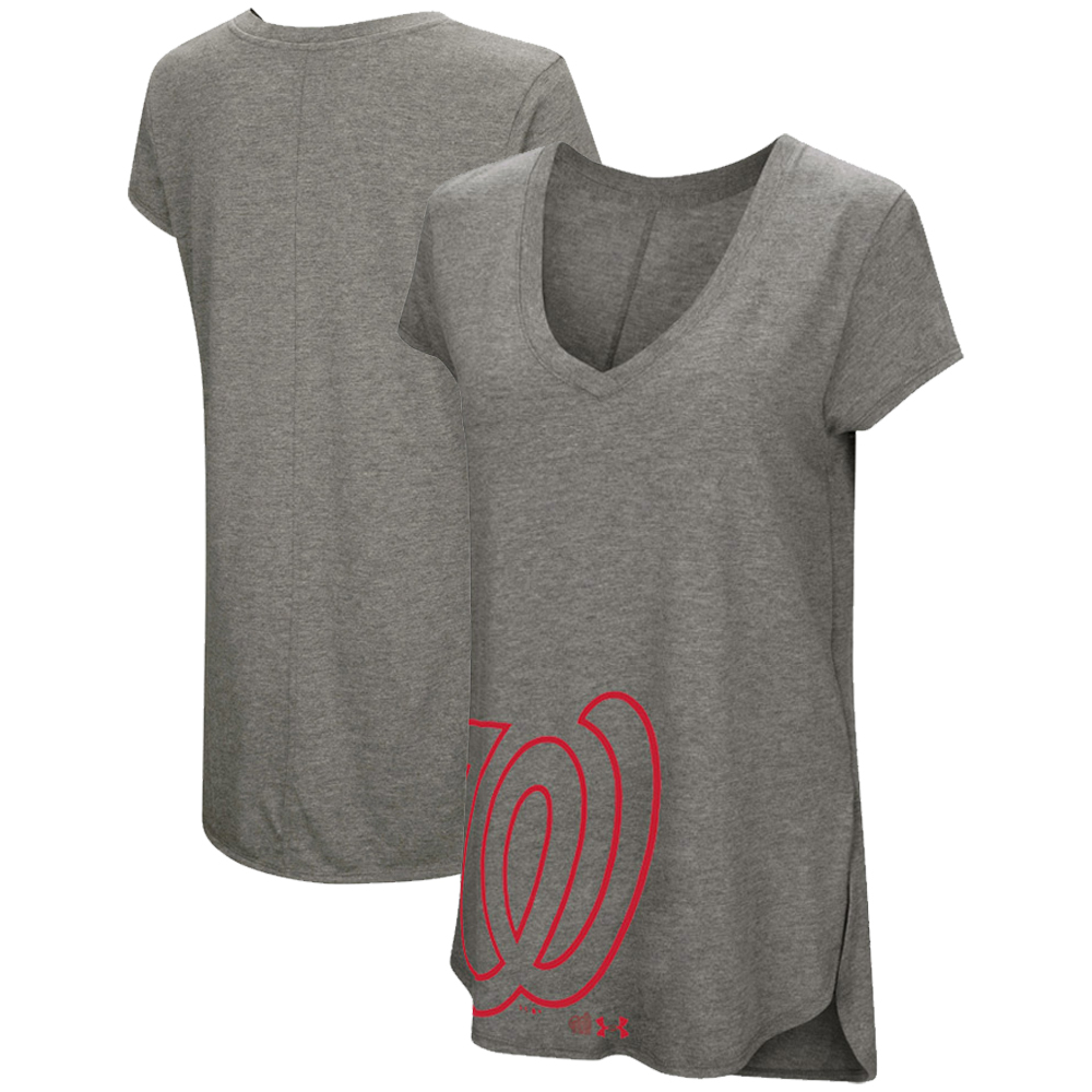 Washington Nationals Under Armour Women's Pride Offset Logo V-Neck Performance Tri-Blend T-Shirt - Heathered Gray