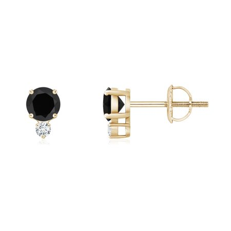 Basket Set Round Black Onyx Stud Earrings With Diamond In 14k Yellow Gold 4mm Se0133bod Yg Aaa 4