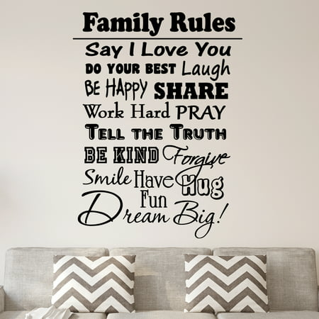 VWAQ Family Rules Vinyl Wall Decal Inspirational Quote Home Decor Family Wall Art Saying - Inspirational Halloween Quotes Sayings