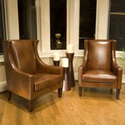 Bristol Top Grain Leather Accent Chairs in Rustic Color-Set of 2