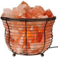 "Himalayan Glow Natural Salt Lamp 8"" Tall Round Basket 10 lbs with Dimmer"