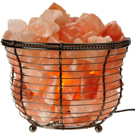 "Himalayan Glow Natural Salt Lamp 8""Tall Round Basket 10lbs with Dimmer"