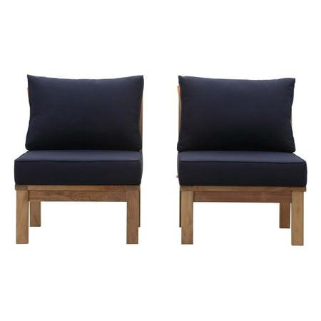 Modern Contemporary Urban Design Outdoor Patio Balcony Garden Furniture Lounge Chair Set, Wood, Navy Blue Natural ()