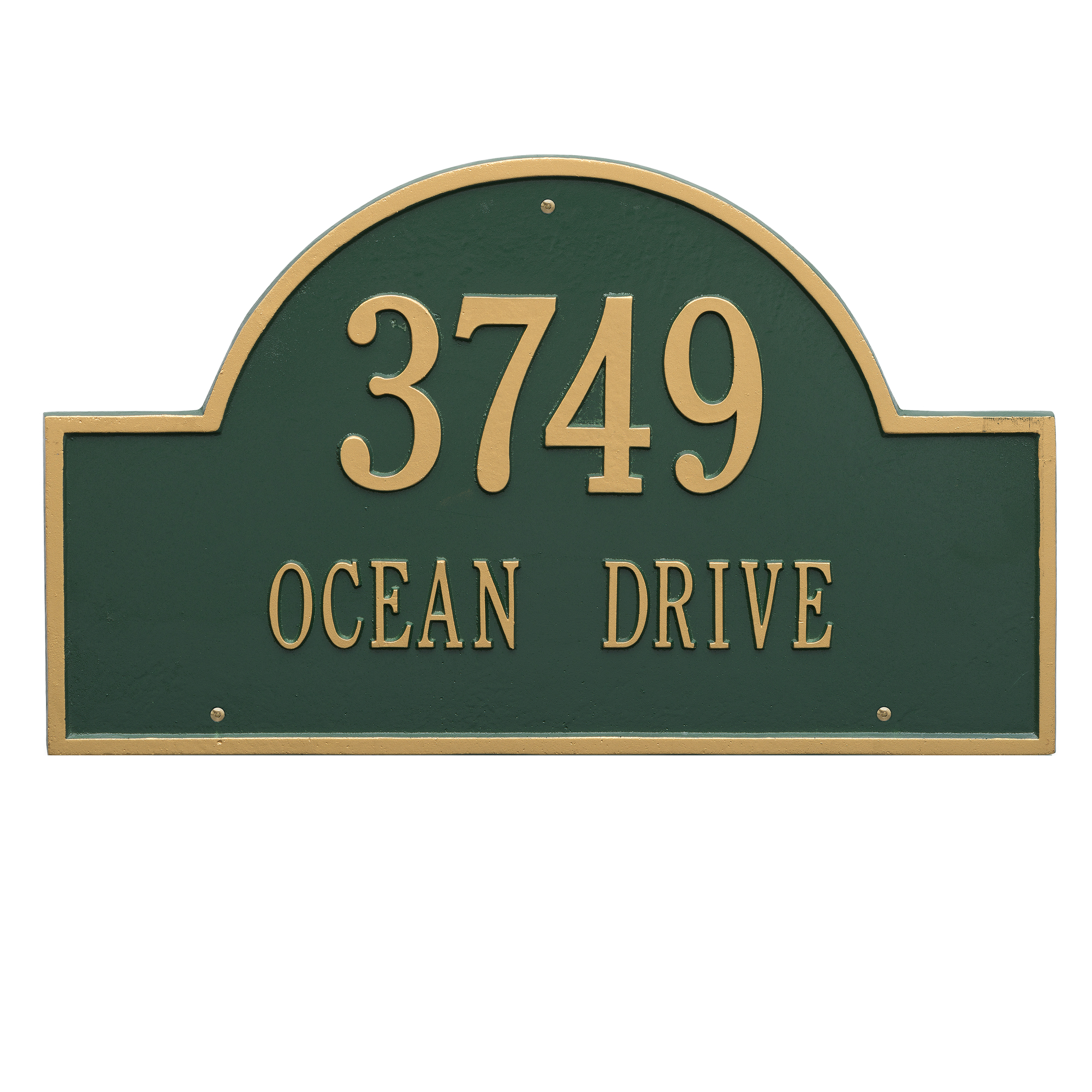 Personalized Whitehall Products Estate 2-Line Providence Arch Wall Marker in Green/Gold