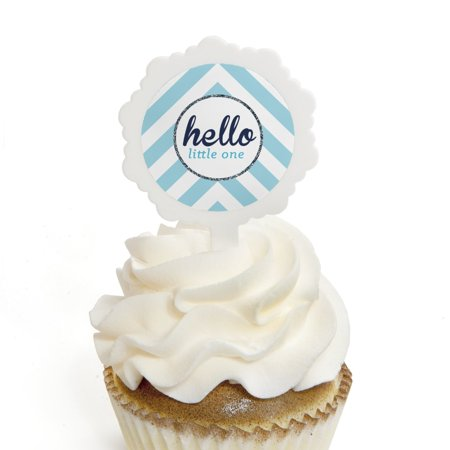 Hello Little One - Blue and Silver - Cupcake Picks with Stickers - Boy Baby Shower Cupcake Toppers - 12 Count