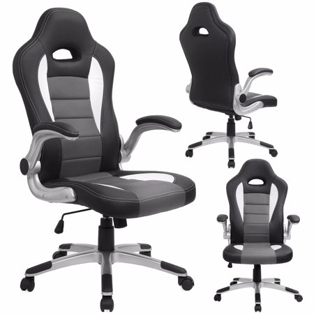 Executive High Back Office Chair Racing Style PU Leather Grey Black Walmar