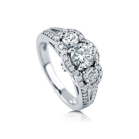 - Rhodium Plated Sterling Silver Cubic Zirconia CZ 3-Stone Halo Split Shank Ring Size 10
