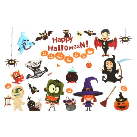 PVC Pumpkin Bat Print Halloween Decoration Wall Sticker Decal Multicolor - Halloween Wall Decorations