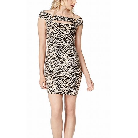 Womens Medium Leopard Print Off Shoulder Sheath Dress M