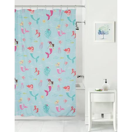 Mainstays Kids Mermaids Coordinating Fabric Shower Curtain