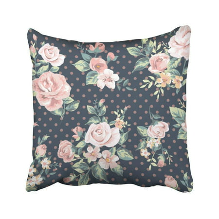 ARTJIA Purple Rose Pink Vintage Flower Pattern On Navy Dot Red Floral Painting Accent Romantic Pillowcase Throw Pillow Cover Case 18x18 inches