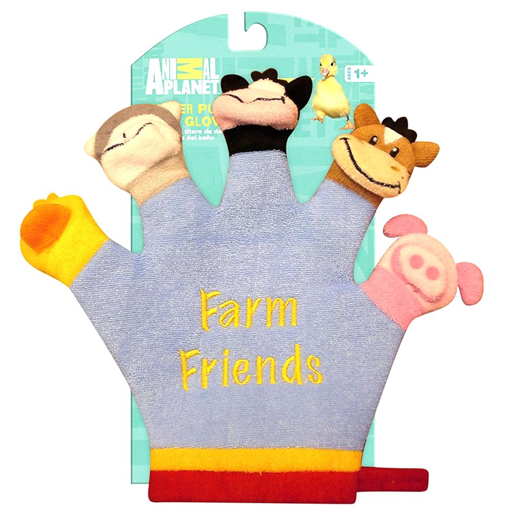 Animal Planet Terry-Cloth Baby Bath Glove Hand Finger Puppet Washcloth Farm D111312CET by Animal Planet