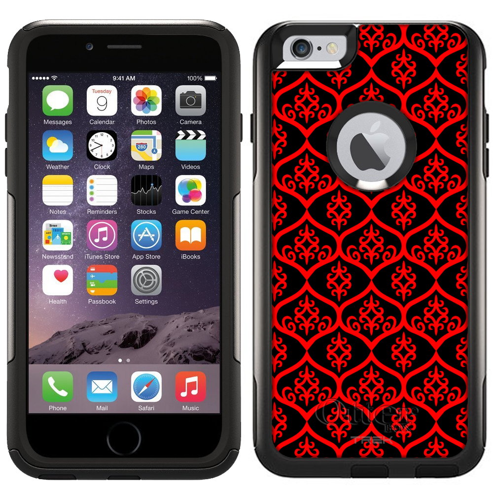 Otterbox Commuter Case for Apple iPhone 6 Plus - Victorian Tileable Red on Black