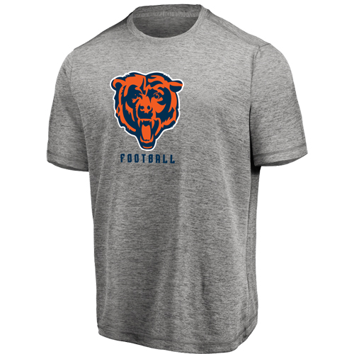 Men's Majestic Heathered Gray Chicago Bears Proven Winner Synthetic TX3 Cool Fabric T-Shirt