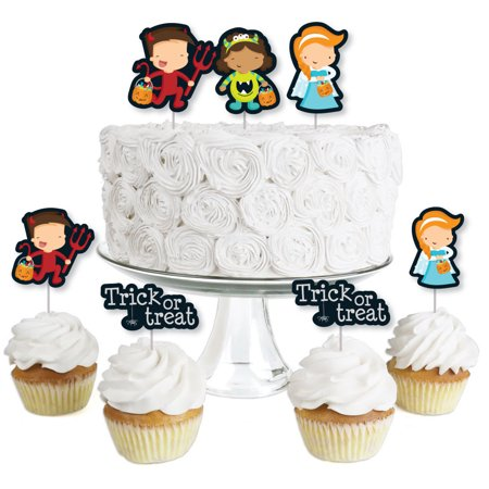 Trick or Treat - Dessert Cupcake Toppers - Halloween Party Clear Treat Picks - Set of 24