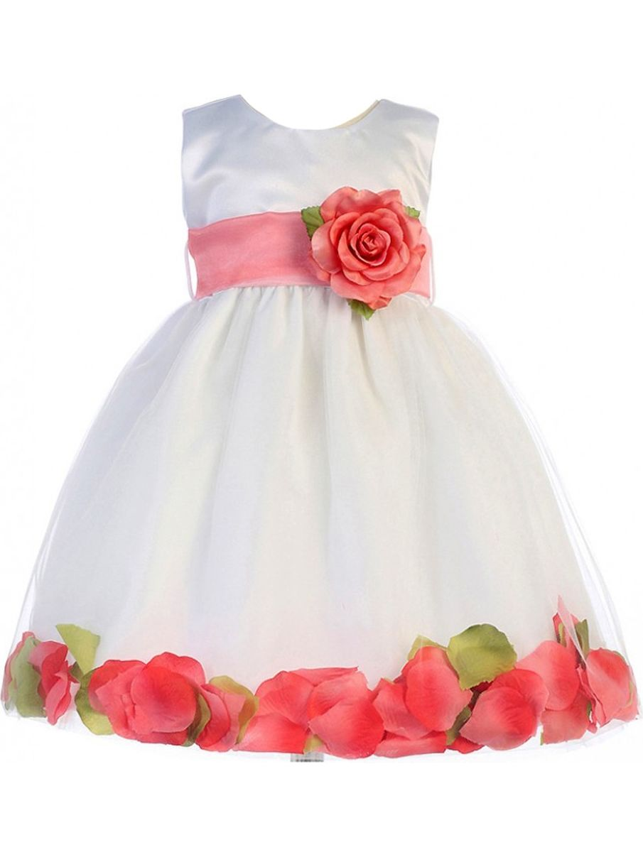 Crayon Kids Baby Girls White Coral Petal Flower Girl Dress 18M