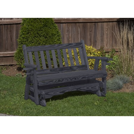Heavy Duty Rocker Guards - Outdoor Garden Lawn Exterior 4 Ft Black Finish Amish Heavy Duty 800 Lb Mission Kiln-Dried Pine Porch Glider With Cup Holders