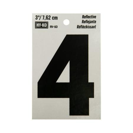 Hy-Ko 3 Reflective Vinyl Self-Adhesive Sticker Number 4 ()