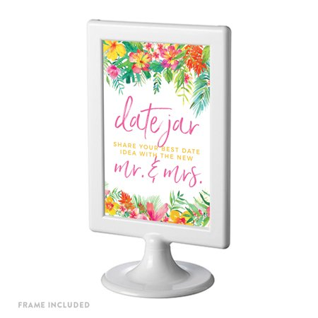 Tropical Floral Garden Party Party Signs, Date Jar Share Your Best Date, 4x6-inch, Includes Frame