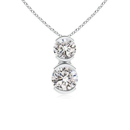 Valentine Jewelry gift - Semi Bezel-Set Two Stone Diamond Pendant in 14K White Gold (3.5mm Diamond) - SP0836D-WG-IJI1I2-3.5 3 Stone Semi Bezel