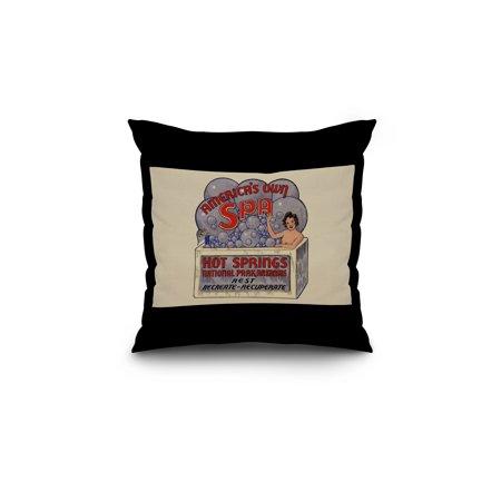 Hot Springs National Park, Arkansas - America's Own Spa - Vintage Advertisement (18x18 Spun Polyester Pillow, Black