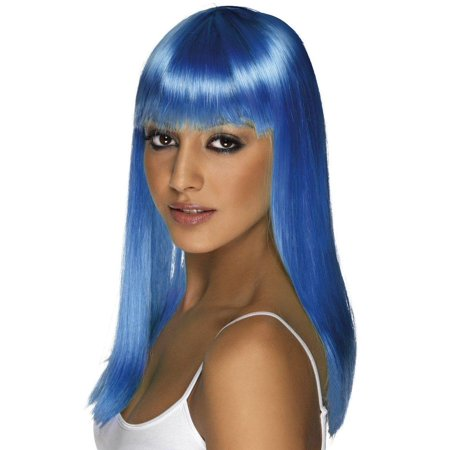 Long Neon Blue Glamourama Adult Costume Wig
