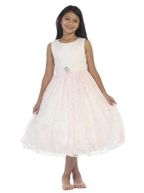 ea21ea8013 Product Image Little Girls Pink Lace Overlay Rhinestone Brooch Flower Girl  Dress. Tip Top Kids